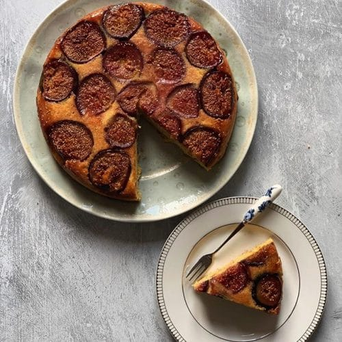 Fresh Figs & Orange Polenta Cake
