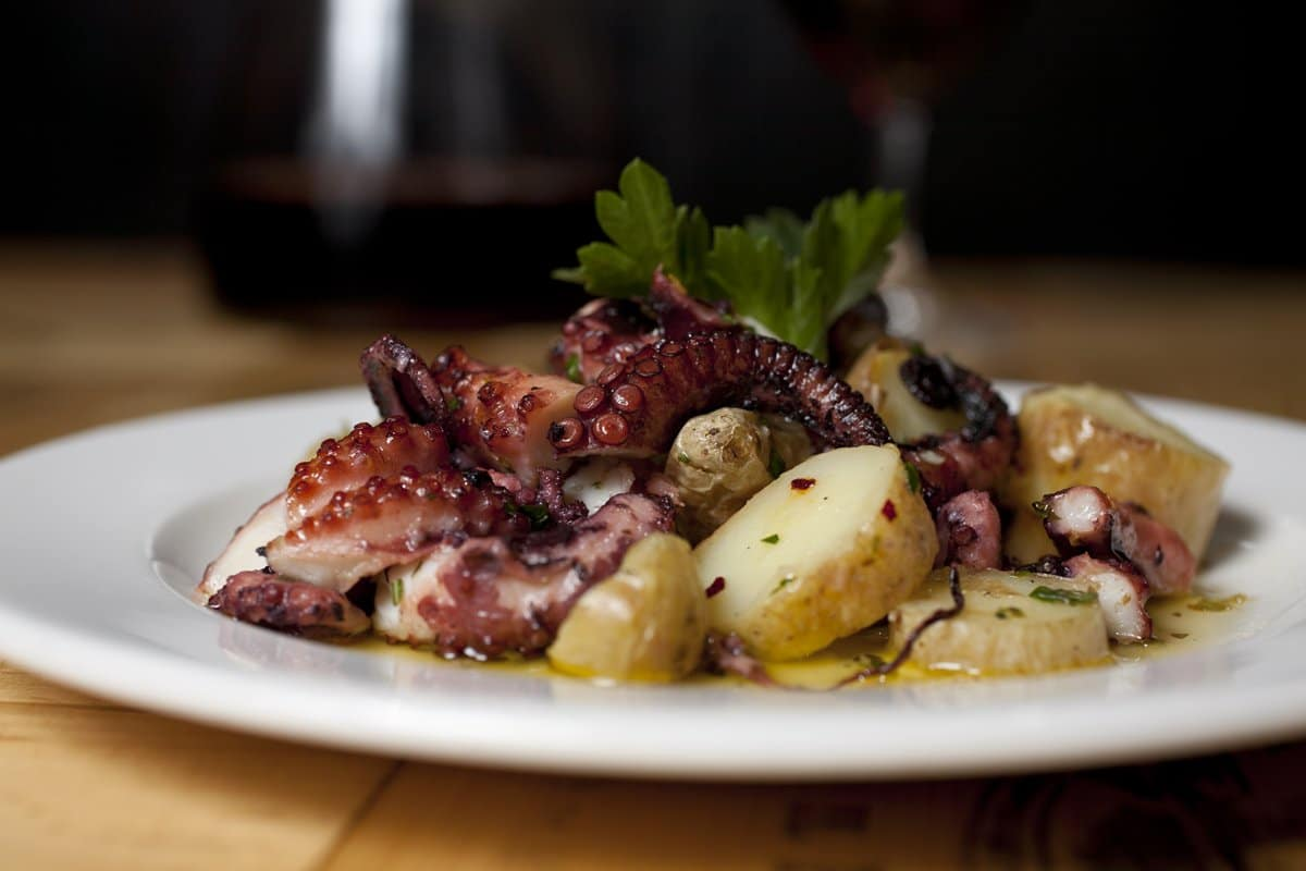 Octopus Crudo With Baby Potatoes Recipe — Dishmaps