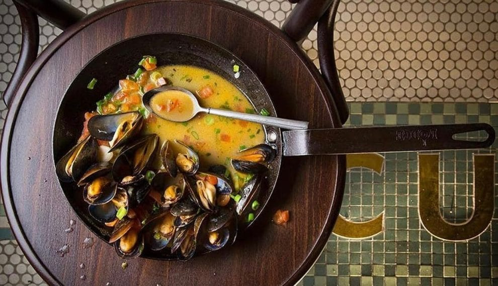 Steamed Mussels in Beer with Tasso Ham (Beer Can Mussels)