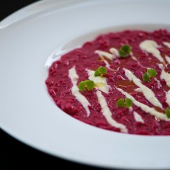 Beetroot Risotto and Gorgonzola
