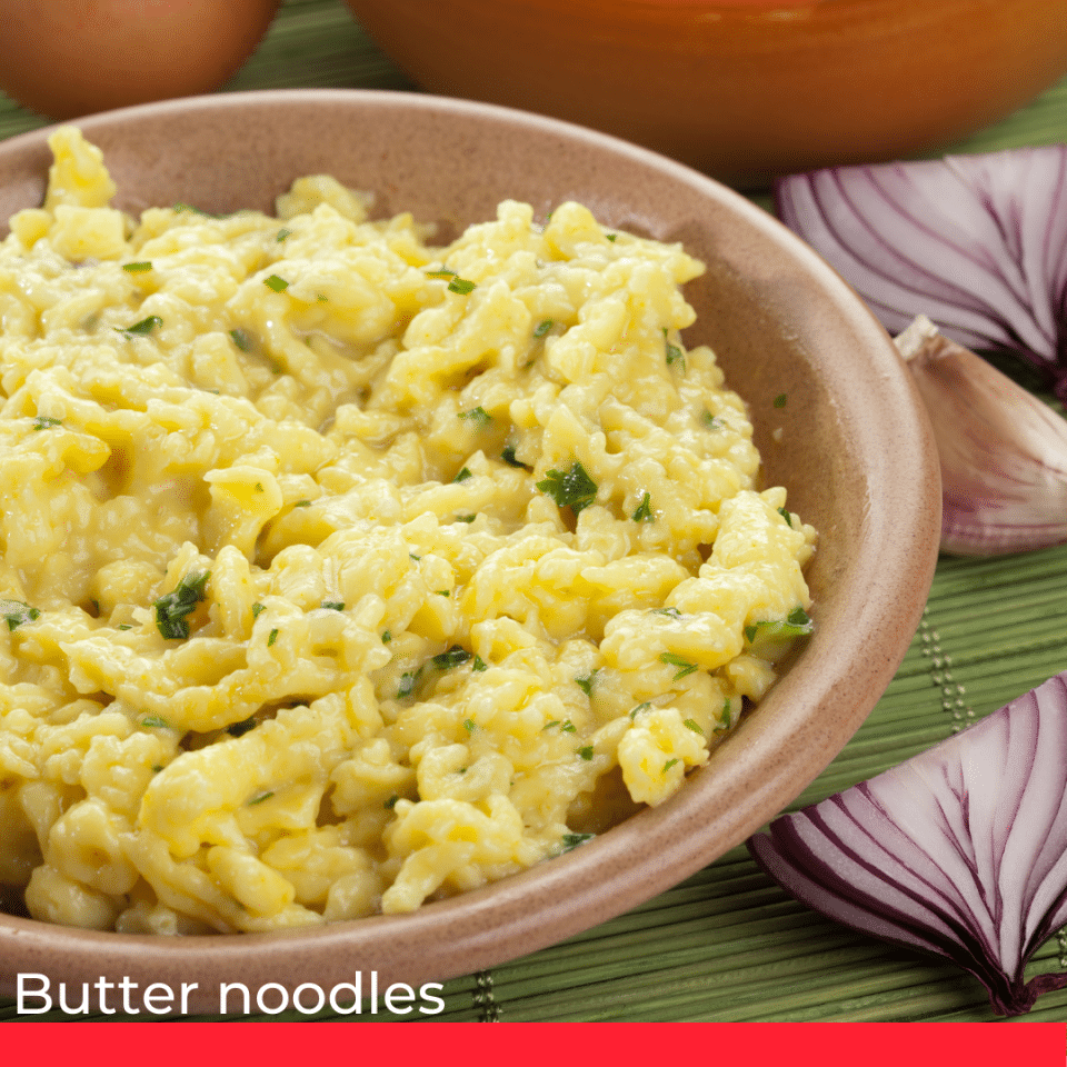 Butter noodles as garnish.