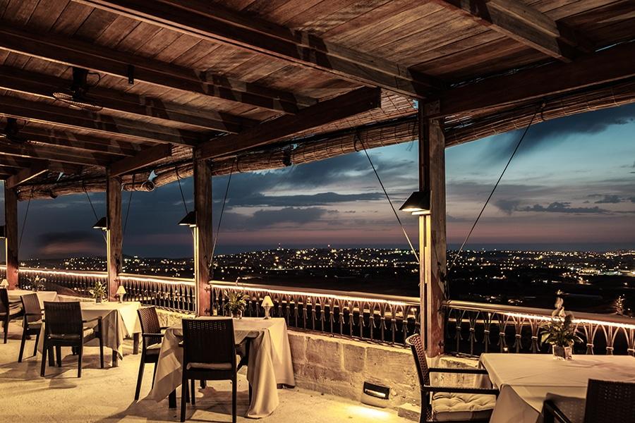 beautiful terrace at sunseat