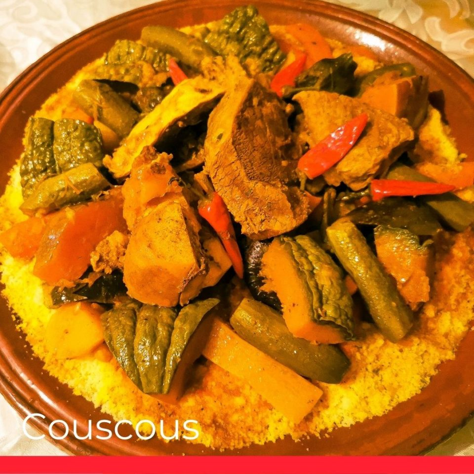 Traditional dish on Fridays in Morocco couscous