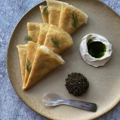 Brown Butter Rye Crepes with Regalis Platinum Osetra Caviar