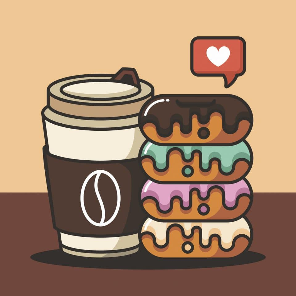 Donuts with Coffee ilustration