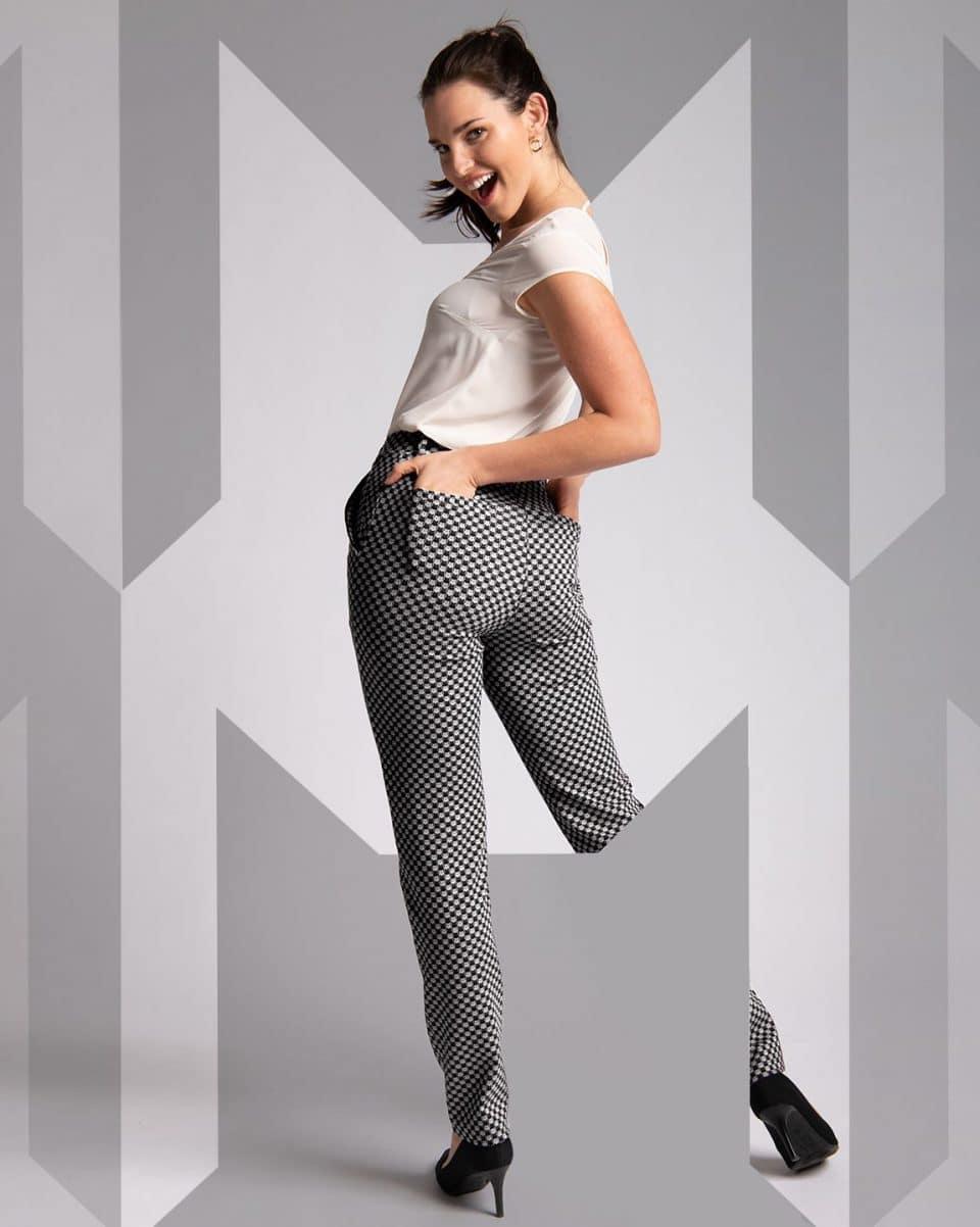 Dress Pant Yoga Pants-Straight Leg Chino (in catstooth