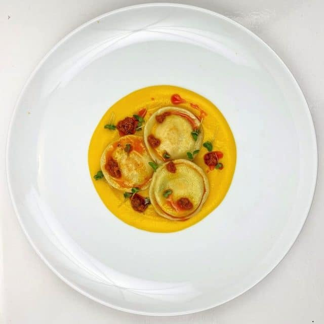 Ricotta and Smoked Quails Egg Ravioli with Butternut Squash Velouté