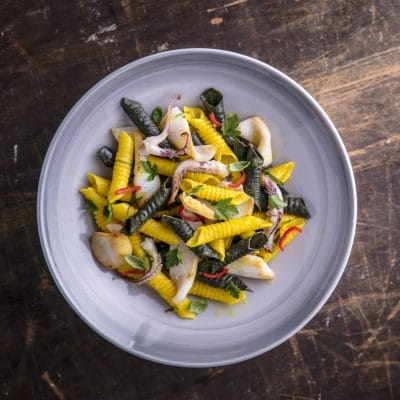 Garganelli with Squid and Saffron