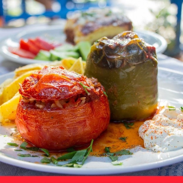 Gemista (Greek Stuffed Tomatoes and Peppers with Rice)