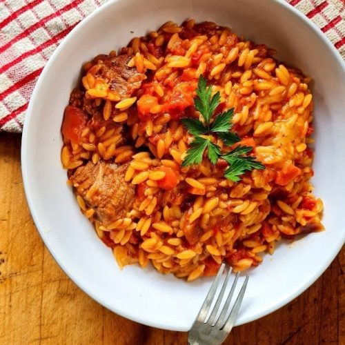 Giouvetsi (Orzo with Beef in a Tomatoe Red Wine Infused Sauce)