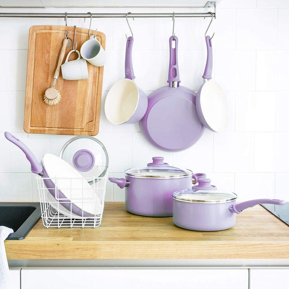 GreenLife CC001792-001 Soft Grip 16 Piece Ceramic Non-Stick Cookware Set