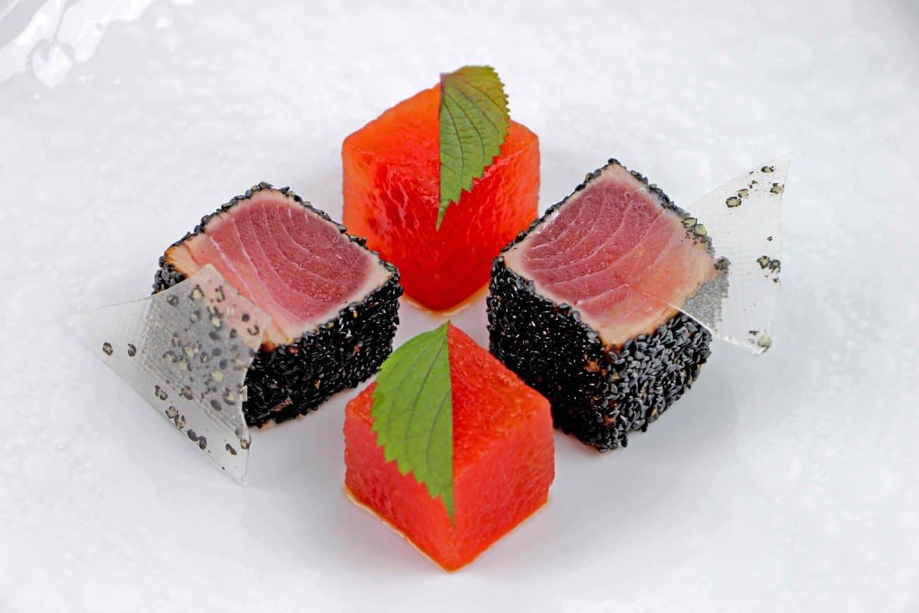 Soy-Sauce Impregnated Watermelon With Tuna Tataki