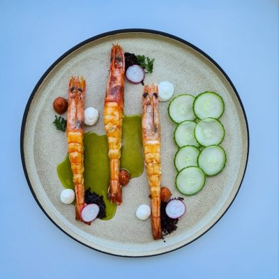 Shrimps with Feta Cheese Cream and Cucumber Pickle