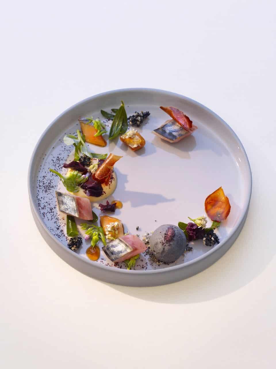 Marinated Mackerel With Sesame Ice Cream And Passion Fruit