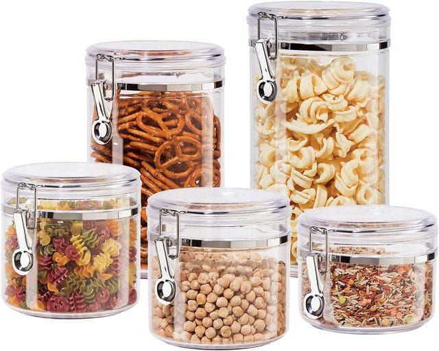 Oggi Clear Canister Set with Clamp Lids Airtight Containers