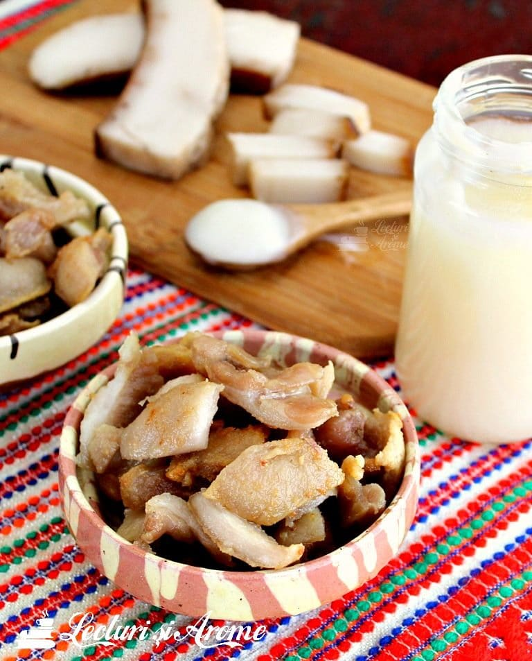 Traditional Romanian Pork Greaves and Lard