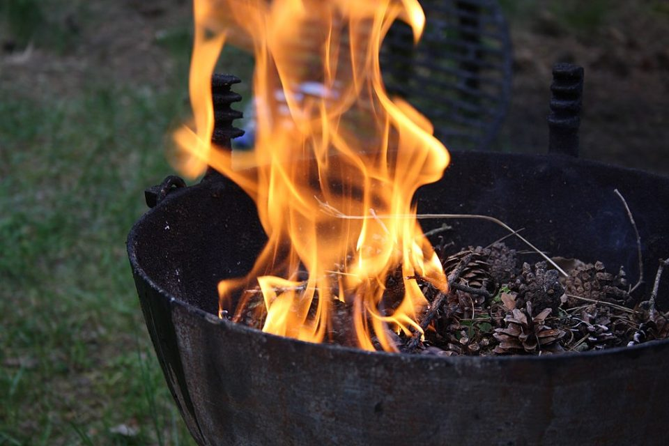 Preparing the grill