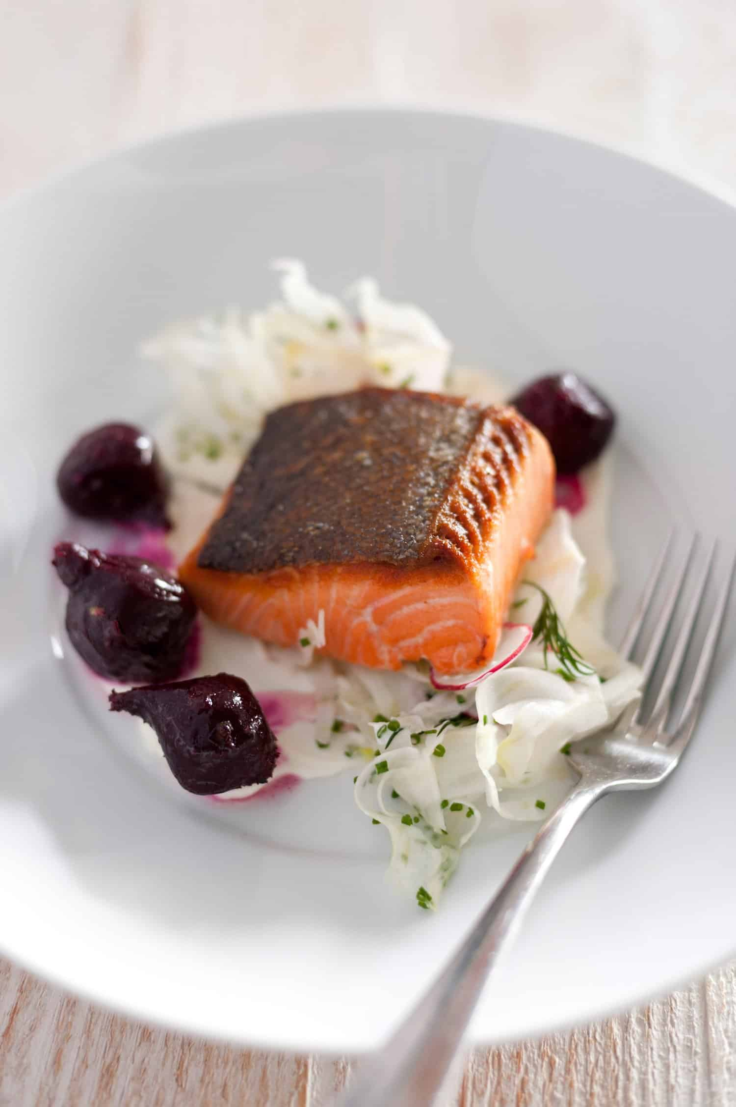 Pan Roast King Salmon Fillet with Beetroot, Fennel, Radish, Labna and ...