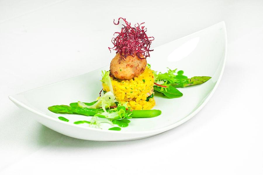 Saffron Risotto with Salt-Water Red Prawns & Sea Urchin Fritter