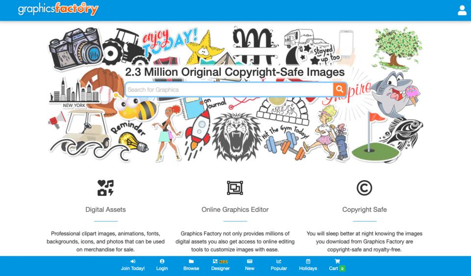 Screenshot of GraphicsFactory website