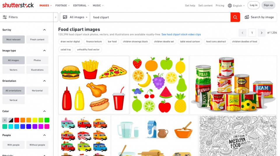 Screenshot of Shutterstock website