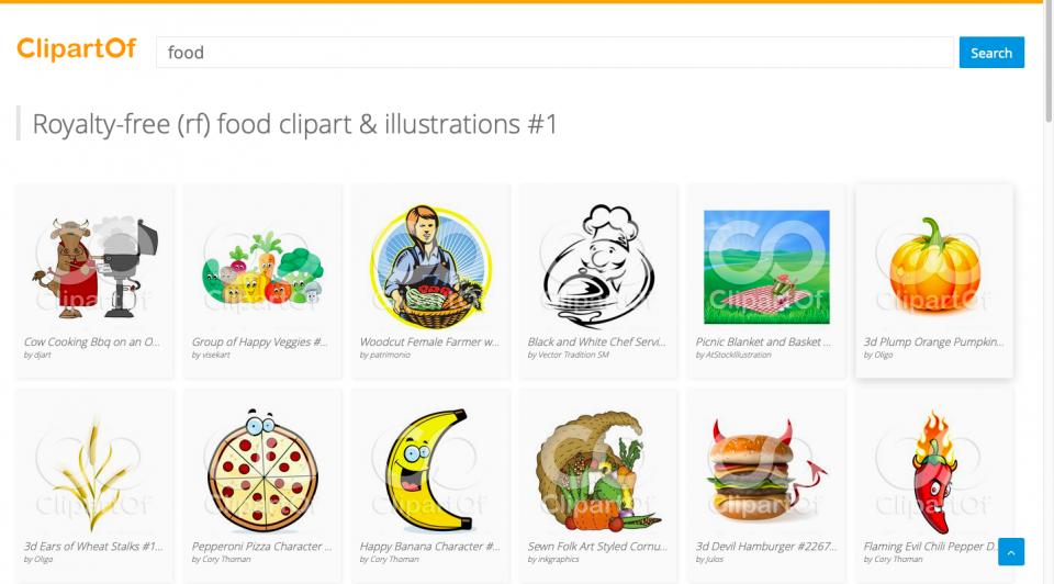 Screenshot of Clipartof website