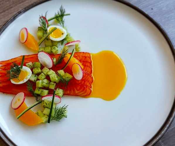Salmon Gravlax with Cucumber, Quail Egg and Oranges