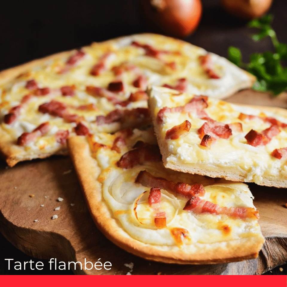 Tarte flambée with a French influence.
