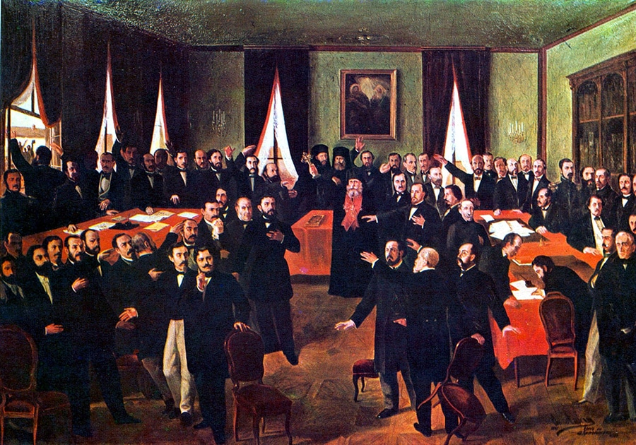 Painting with a large group of politicians indoors