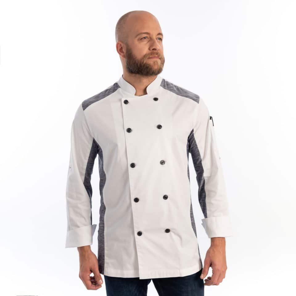 Unisex Slim Long Sleeve Quick Cool Stretch Chef Coat