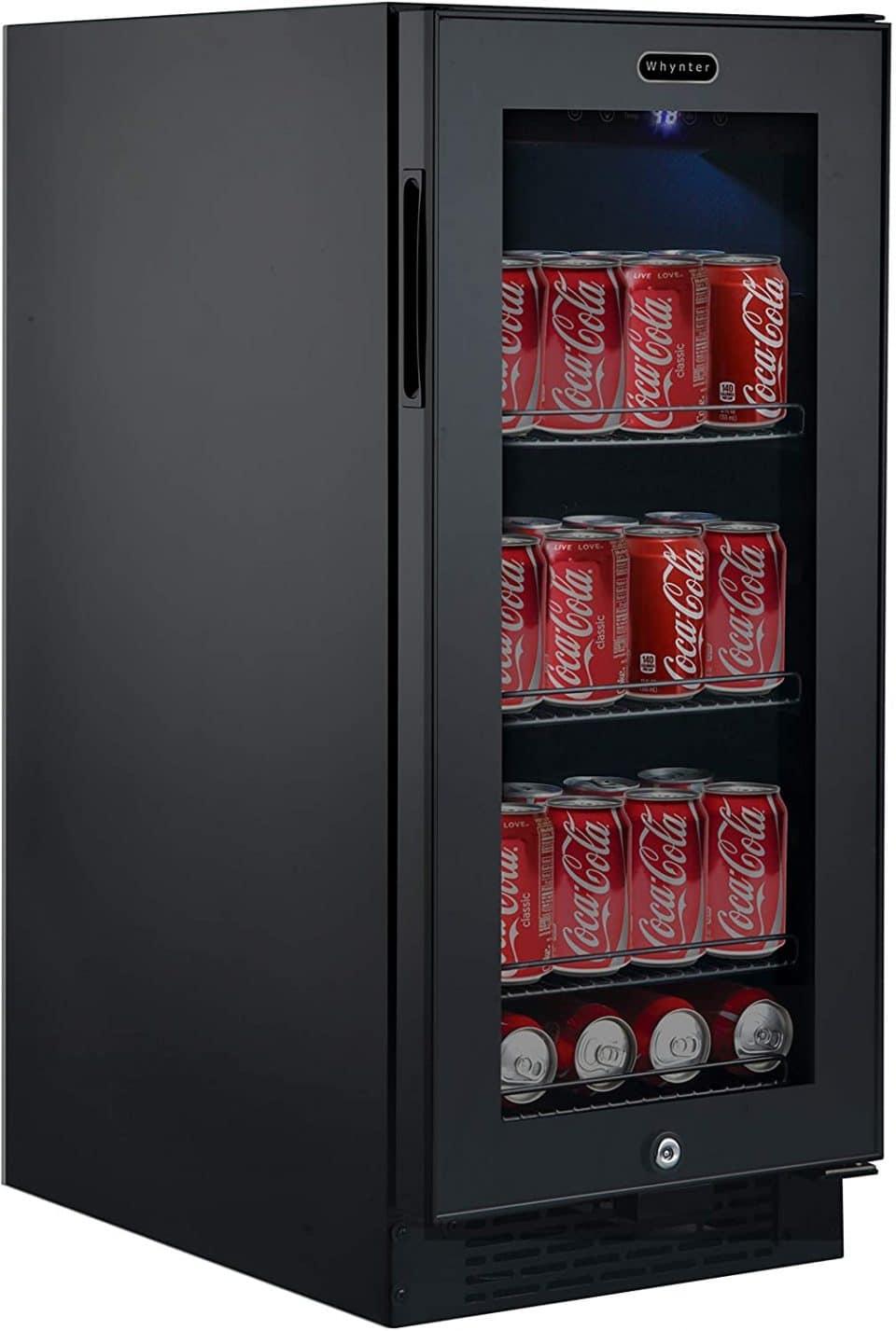 Whynter Built-in Black Glass Beverage Refrigerator
