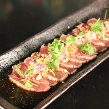 Yellow Fin Tuna Tataki with Fried Garlic, French Onion, Light Citrus ...