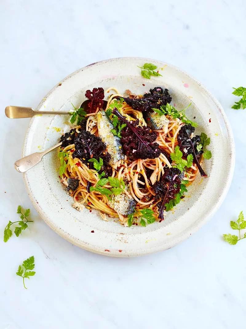 Zesty sardine & purple kale spaghetti