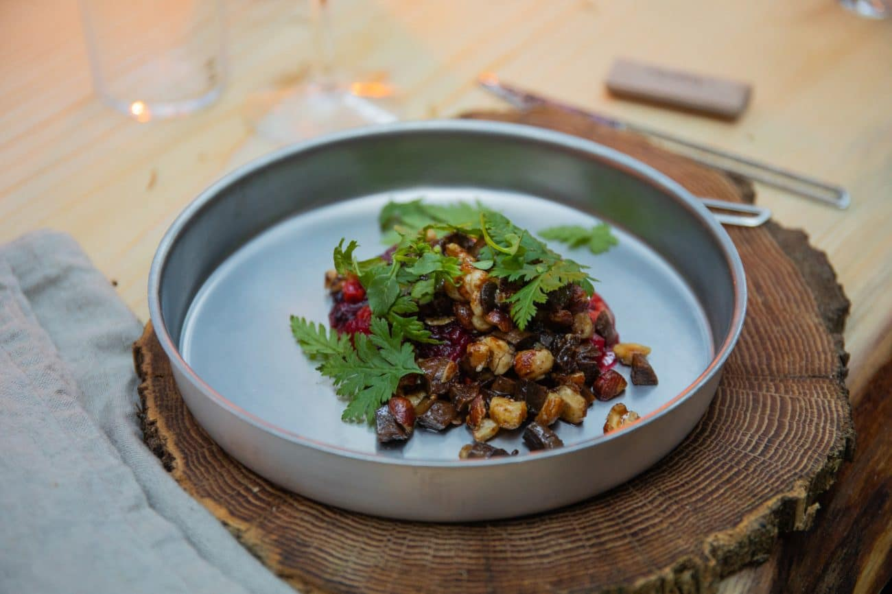 Golden Chanterelles with Ramsons' Berries and Herb Salad