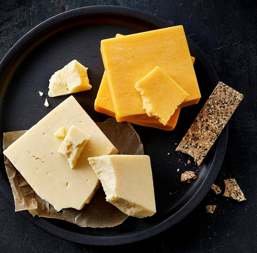 close-up of a plate with cheddar cheese