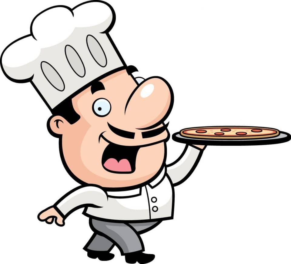 Chef with a pizza clipart
