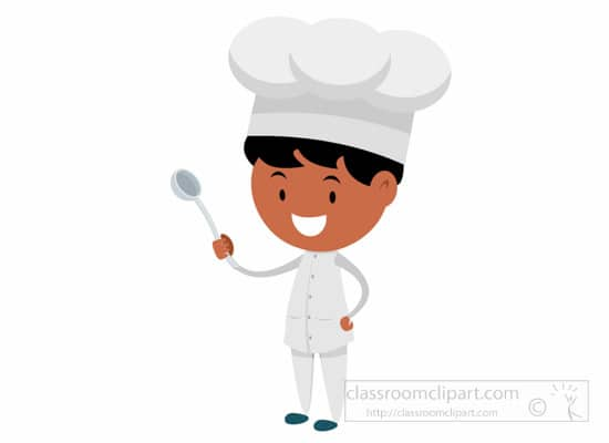 Chef with big spoon in hand clipart