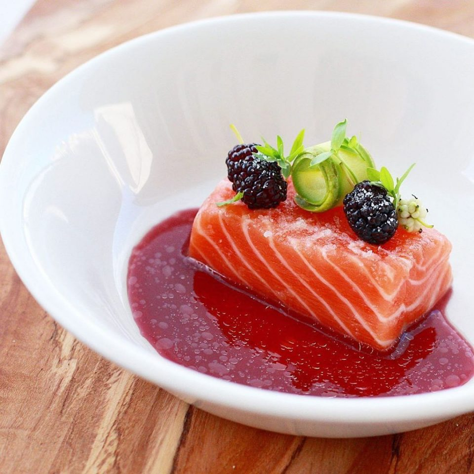 Brined, cold hickory smoked salmon, berry reduction split with lavender infused olive oil, ice cold berries