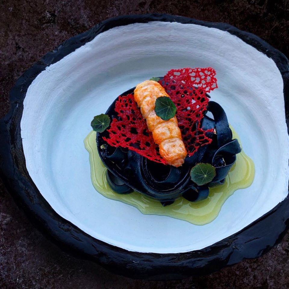 """Dark Sea"" Pasta, ink, lobster coral tuile, sous vide scampi, seaweed plankton"