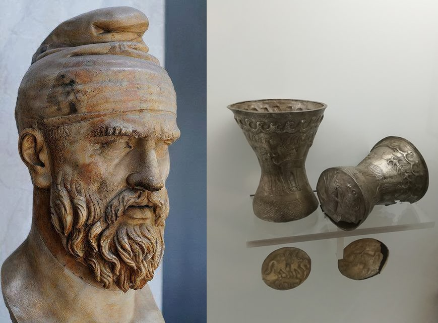 Statue of a Dacian male head and a silver goblet