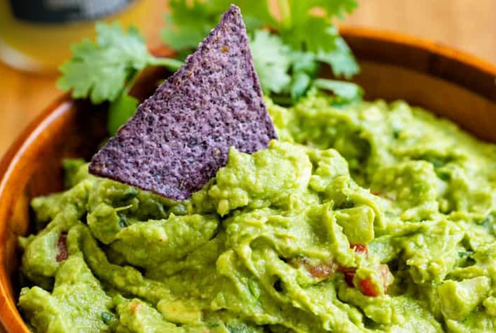 close-up of a bowl with guacamole