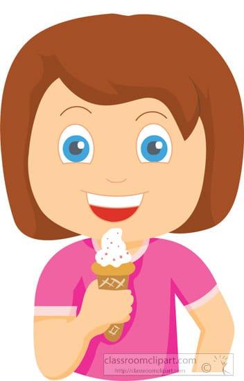 Girl holding ice cream cone clipart