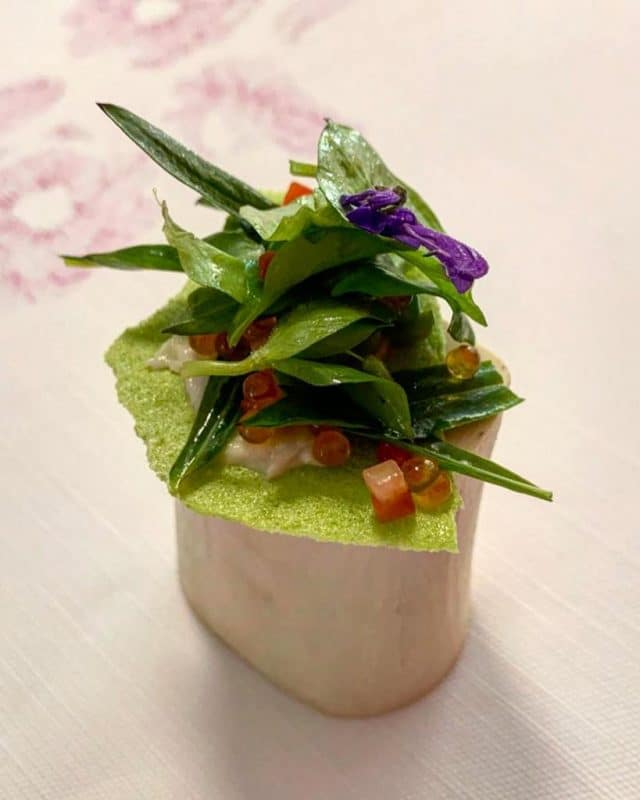 Green Pea and Chickweed Salad, Smoked Bone Marrow, Strawberry Seed Oil
