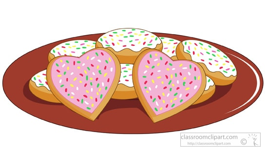 Heart shaped sugar cookies clipart