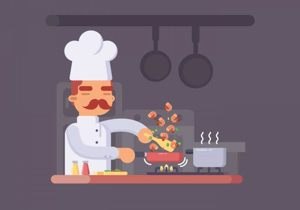 Chef cooking clipart