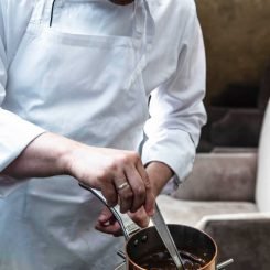 Chef Ulrik Jepsen Preparing the Pressed Duck Sauce