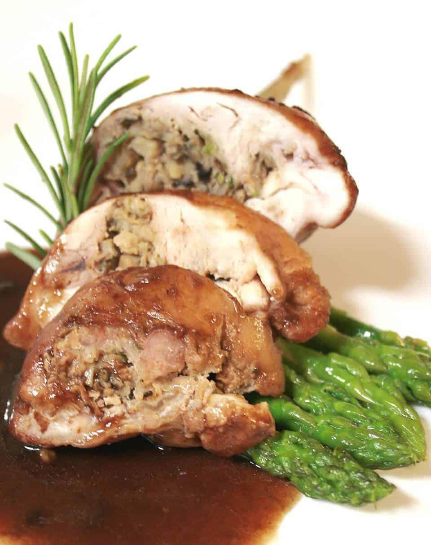 Braised Rabbit Leg With Mushroom Filling In Grappa Raisin Sauce