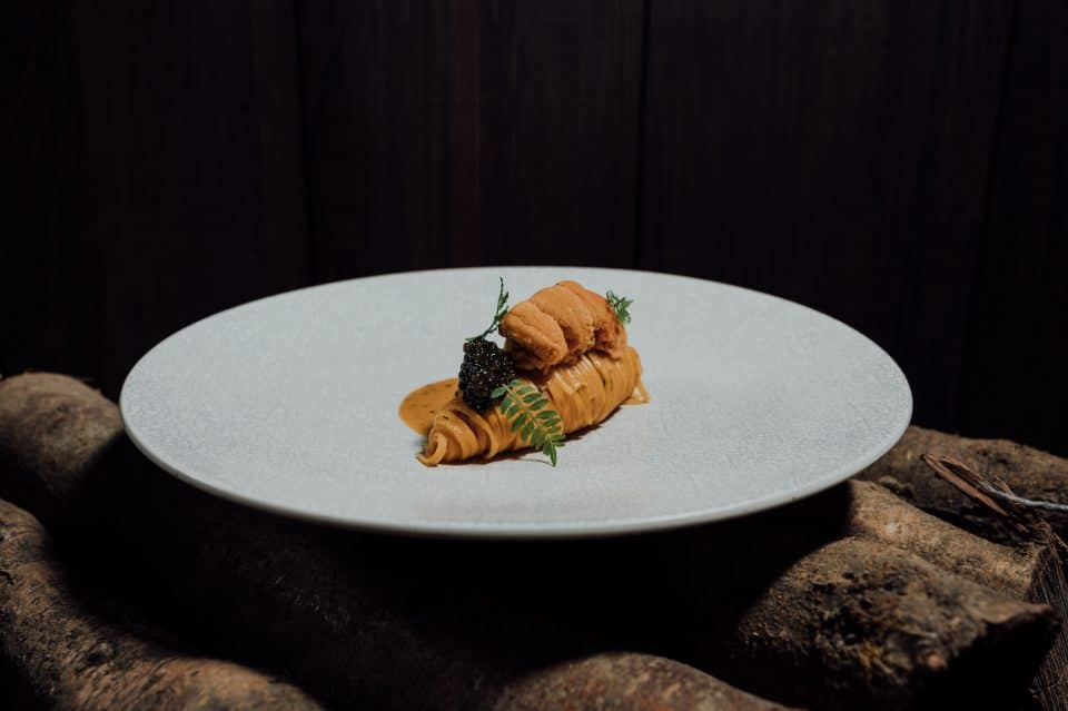 Tagliolini with sea urchin and caviar